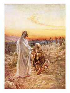 Jesus Withe The One Leper Who Returned To Give Thanks