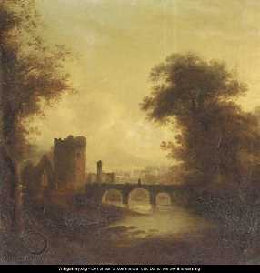 A Ruined Abbey And Bridge In A River Landscape With A Town Beyond