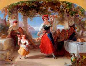 Un Italiano Madre Insegnamento il suo bambino la tarantella