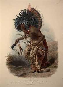 Moenitarri Krieger in der Kostüm von dem Hund Danse