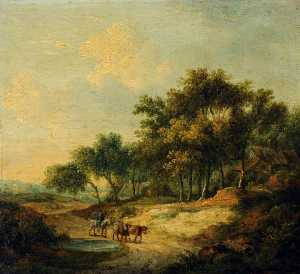 Landscape With A Figure On Horseback And Cattle
