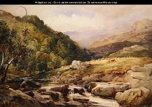 Landscape With Stream And Haymakers