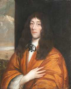 Portrait Of An Unknown Poet In An Orange Cloak With Hand On Heart
