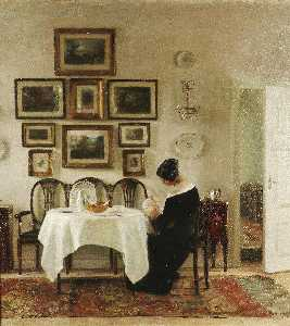 Mother And Child In A Dining Room Interior
