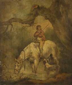Boy Seated On A Drinking Horse