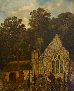 A Monk By A Church In A Wood
