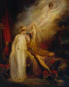 The Reconciliation Of Helen And Paris After His Defeat By Menelaus