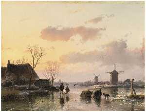 A Winter Landscape With Windmills On The Horizon