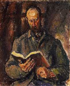 Man Smoking A Pipe And With A Book