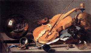 Vanitas With Violin And Glass Ball_2