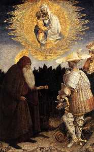 Apparition Of The Virgin To Sts Anthony Abbot And George. Panel. 47 X 29 Cm. National Gallery, London, Uk