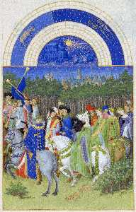 Les Tres Riches Heures Du Duc De Berry- Mai (may). Illumination On Vellum.