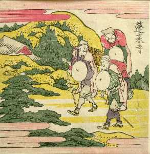 Three Men Traveling Along A Cliff