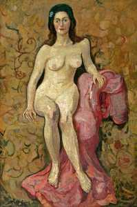の肖像画 裸婦 とともに ピンク ショール