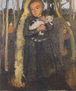 Girl With Cat In The Birch Forest