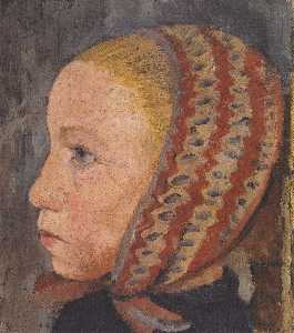 Head Of A Girl With Striped Hat