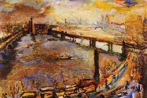 Londres, vue large de la Tamise I,London, broad sight of the Thames I, Huile sur Toile,