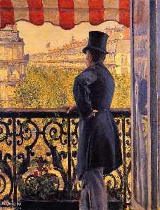 der mann auf  der  Balkon