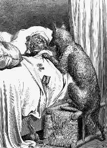 Gd 0002 He sprang unpon the old woman and ate her up GustaveDore sqs