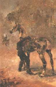 Artilleryman Saddling a Horse