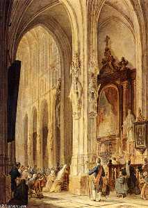a church interior with people attending mass