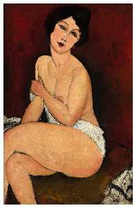 desnuda sentado  en  Un  dyschatell