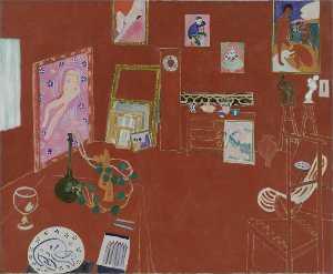 L'Atelier rouge Huile sur Toile - (181x219)
