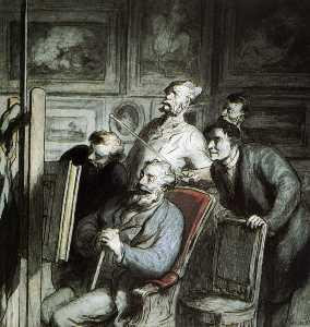 Visiteurs dans l'atelier d'un peintre, crayon noir plume aquarelle gouache Visitors in the workshop of a painter