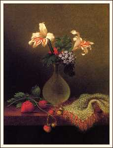 vase of corn lilies and heliotrope