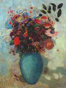 flowers in turquoise vase