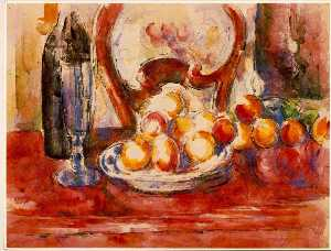 still life- apples, bottle and chairback