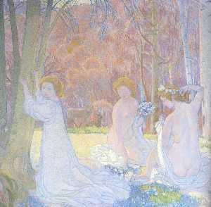 figures in a spring landscape