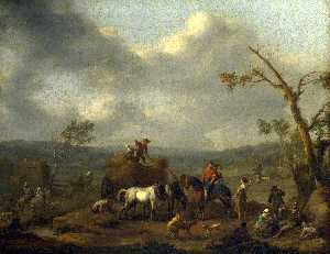 Peasants loading a Hay Cart