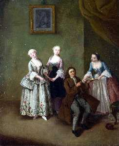 An Interior with Three Women and a Seated Man