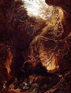 Figures by a Waterfall in a Wooded Landscape