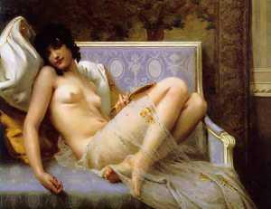 Jeune femme sur denudee Canapè