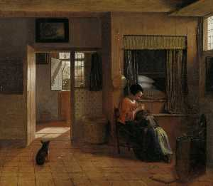 Interior with a Mother delousing her child-s hair known as - A Mother-s duty-