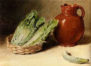 Still life with a jug a cabbage in a basket and a gherkin