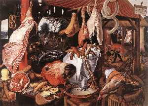 Butcher's Stall with the Flight into Egypt, oi