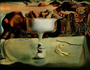 Dalí apparition of face and fruit dish on a beach,1938, wads