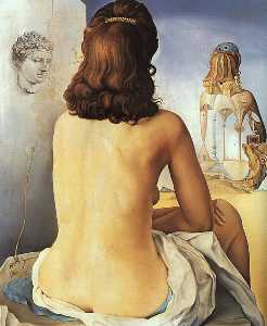 Dalí my wife, nude, contemplating her own flesh becoming sta