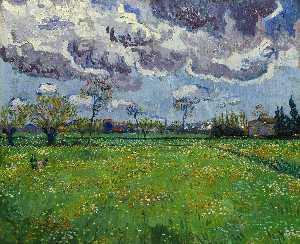Paysage sous un ciel orageux