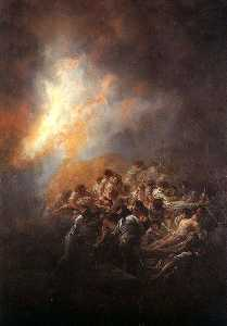 The Fire, oil on tin plate, collection of José Bá