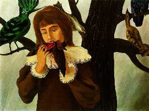 Young girl eating a bird