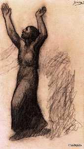 Femme aux bras leves