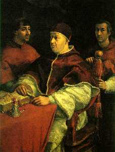 Pope Leo X with two cardinals, U