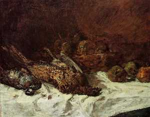 Still Life with Pheasant and Basket of Apples