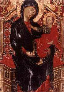 Virgin and Child Enthroned between Two Archangels (detail)