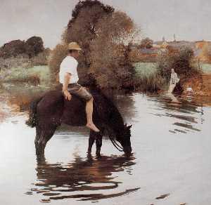 J A Muenier Jeune paysan faisant boire son cheval