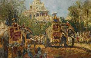 Maharaja and His Elephants at the Procession in the Festival of Dussehra at Mysore
